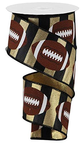 Football Striped Wired Ribbon - 10 Yards (Gold, Black, 2.5
