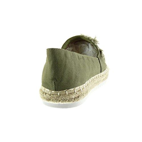 Angkorly - Chaussure Mode Espadrille Mocassin slip-on semelle basket femme fantaisie brodé corde Talon plat 2.5 CM - Vert