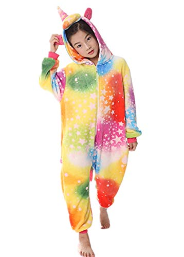 Women's Sleepwear Kids Unicorn Onesie Animal One-PiecePajamas Halloween Cosplay Costume Sleepwear (4T,C(Rainbow-1)) -