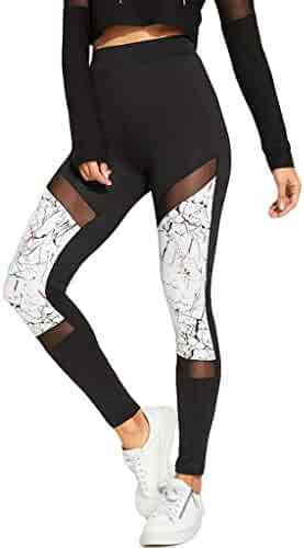 Sayhi Ladies Hollow-Out and Stitching Yoga Pants Aerobic Slim Sports Running Trousers High Waisted Leggings