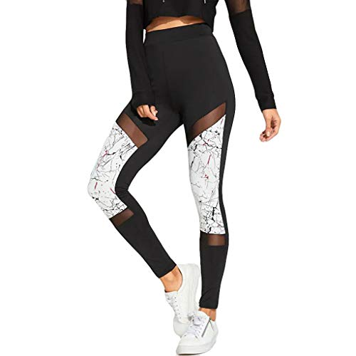iHPH7 Womens Leggings Pants Hollow-Out and Stitching Aerobic Slim Sports Running Yoga Pants (M,3- White)