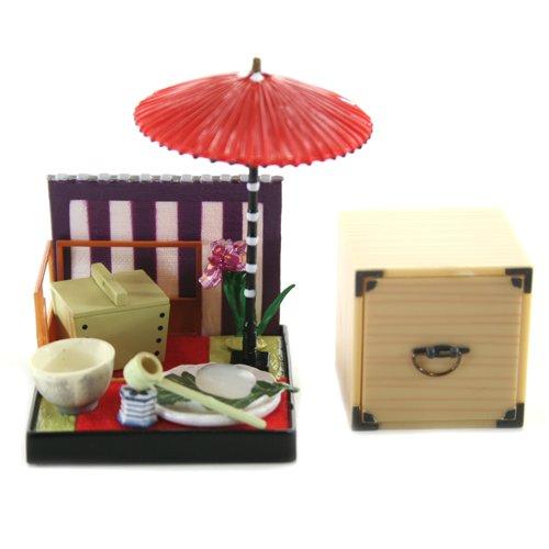 Wa no Takumi Tea Room Mini Furnature Trading Figure - Outdoor Backdrop - Picnick Basket (2