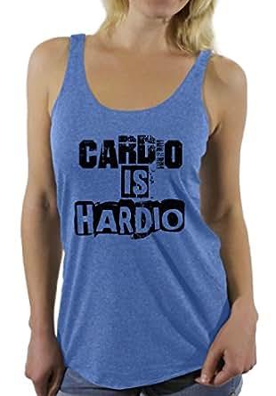 Awkward Styles Women's Cardio Is Hardio Graphic Racerback Tank Tops Workout Blue S