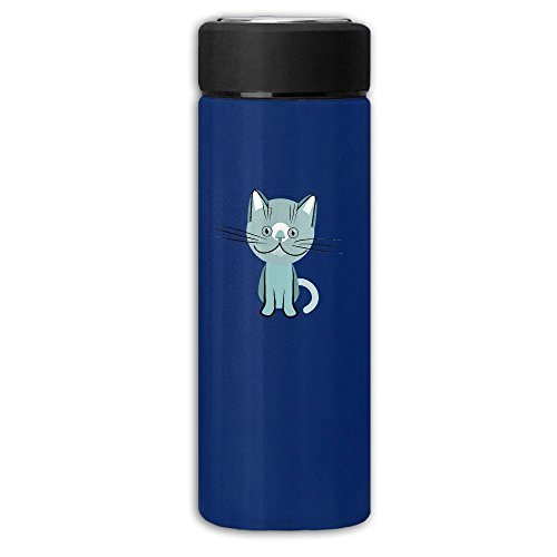 Blue British Shorthair Cat Frosted Business Thermos Flask Stainless Cup,Convience Water Bottle