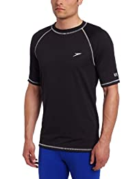 Speedo Men's UPF 50+ Easy Short Sleeve Rashguard Swim Tee, Black, XX-Large