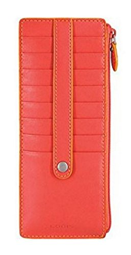 Lodis Audrey Zipper Pocket Card Case (One Size, Coral/Maize)