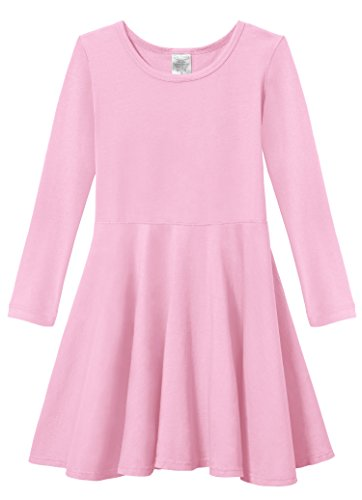 City Threads Little Girls' Super Soft Cotton Long Sleeve Twirly Skater Party Dress, Bright Lt. Pink, 5