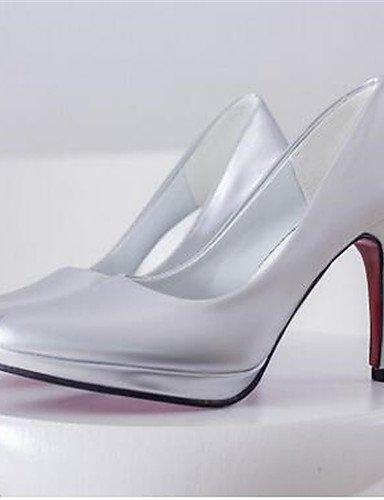 ZQ Zapatos de mujer-Tac¨®n Stiletto-Tacones-Tacones-Oficina y Trabajo / Vestido-Semicuero-Negro / Rosa / Rojo / Blanco / Plata , black-us6.5-7 / eu37 / uk4.5-5 / cn37 , black-us6.5-7 / eu37 / uk4.5-5 fuchsia-us8.5 / eu39 / uk6.5 / cn40