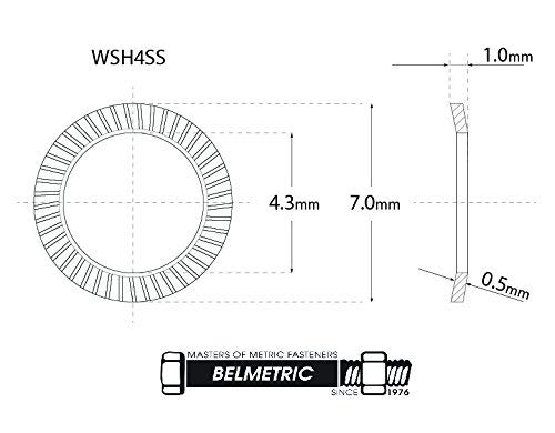 (35pcs) M4 Stainless SCHNORR Brand Ribbed Safety Spring Lock Washer Metric, BelMetric WSH4SS