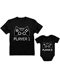 bb551530 Gamer Shirts for Father & Son/Daughter Player 1 Player 2 Men Tee Baby  Bodysuit