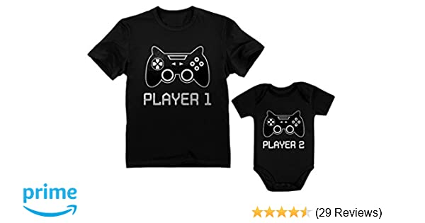 481f8745005f5 Gamer Shirts for Father & Son/Daughter Player 1 Player 2 Men Tee Baby  Bodysuit