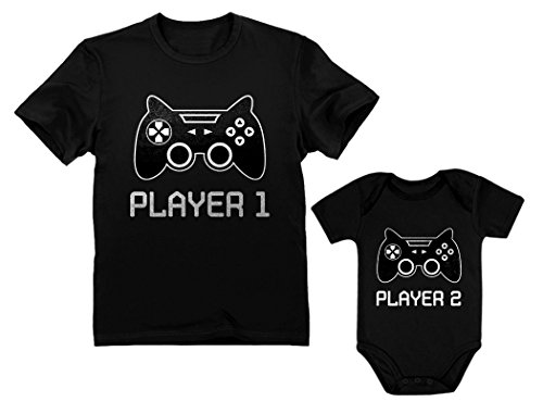 Young Player - Gamer Shirts for Father & Son/Daughter Player 1 Player 2 Men Tee Baby Bodysuit Dad Black Large/Baby Black Newborn (0-3M)