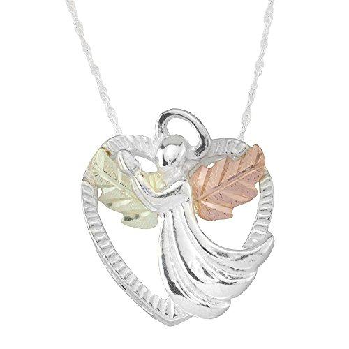 925 Sterling Silver Heart Black Hills Angel Pendant Necklace with 12k Gold - Hills Black Angel Pendant Gold