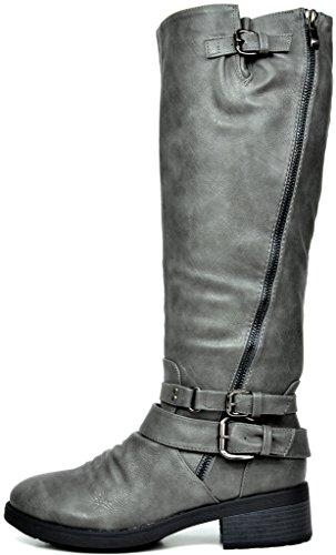 TRAUM-PAAR-Frauen Kniehohe und herauf Reitstiefel (breites Kalb verfügbar) Grau