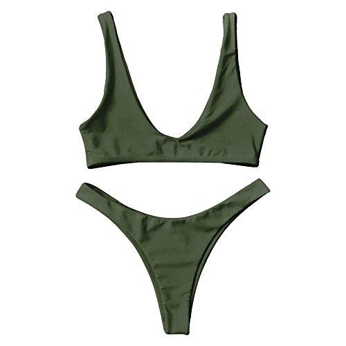 DressLily High Cut Scoop Neck Bikini Set,Army Green,S