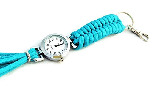 Turquoise paracord tassel keychain for women Pocket watch Key ring with - The House Watch Online Glass