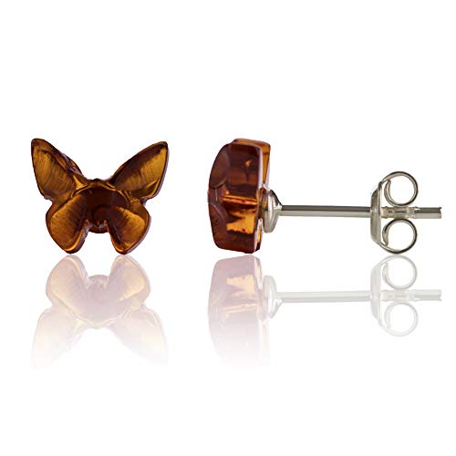 Amber Culture Butterfly Stud Earrings in a Gift Box - Genuine Baltic Amber - 925 Sterling Silver - Carved from Natural Resin - Hypoallergenic - Cognac