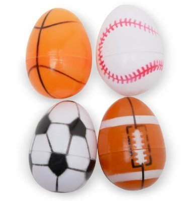 5 Large Easter Eggs Decorated Like Sports Balls - Football - Soccer Ball - Basketball by Momentum Brands
