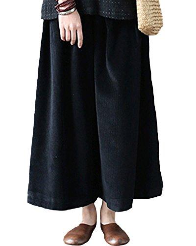 Causal Waist Velours Automne Jambe Aeneontrue hiver Poches Nouveau Large Avec Femmes Côtelé Pantalon Noir Élastique UwqxZ0xg