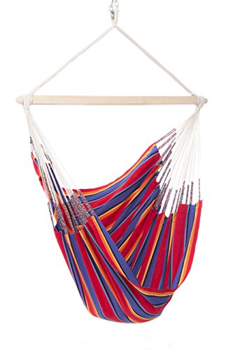 Colombian Hammock Chair - 44 inch - Natural Cotton Cloth (Red and Blue ()