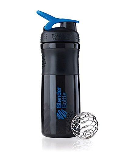 BlenderBottle SportMixer Tritan Grip Shaker Bottle, Black/Blue, 28-Ounce