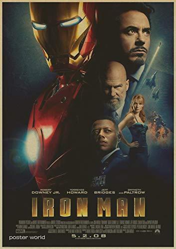1 piece Movie Poster Iron Man Design poster children room wall decoration Retro Kraft Paper vintage Poster wall stickers -