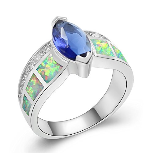 Sinlifu Silver White Opal Accent Blue Cubic Zircon Marquise Ring Wedding Band