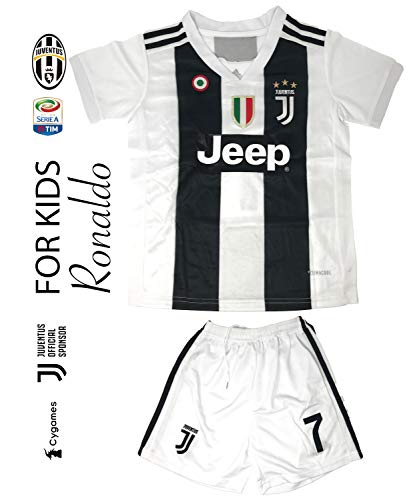 The Soccer Jersey and Short for Kids on Season 2019 - Best Soccer KIT for Kids - Juventus Ronaldo 7 - Barcelona FC 10 Messi - Real Madrid 10 Modric (Juventus, Kids 28/XX Large (Age 12-13))