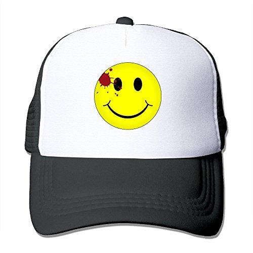 [MZONE Casual Snapback Cap Hat Watchmen Bloody Smiley Face Sun Cap Hat Black] (Smiley Movie Mask)