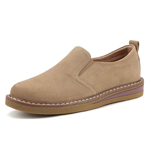 Zapatos Zapatillas de Hechos Oxfords Piso Oto Sobre Zapatos a Mano Planos Caqui Las Mujeres Mocasines de Barco Cuero o deslizarse de atCqwFC