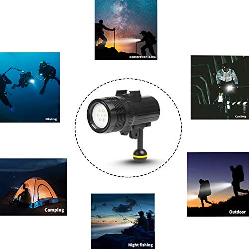D&F Waterproof Torch LED Light 1000LM Diving 60m Video Flashlight Lamp for GoPro Hero 7/6/5/4/HERO(2018), AKASO,Campark,Crosstour,APEMAN and Other Action Sports Camera by D&F (Image #5)