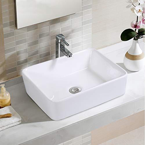 (Giantex Bathroom Rectangle Ceramic Vessel Sink Vanity Pop Up Drain Modern Art Basin (19