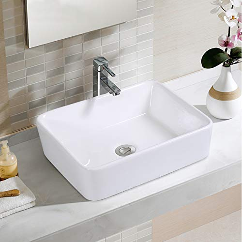 Giantex Bathroom Rectangle Ceramic Vessel Sink Vanity Pop Up Drain Modern Art Basin 19 L X14.6 W X 5.1 Deep