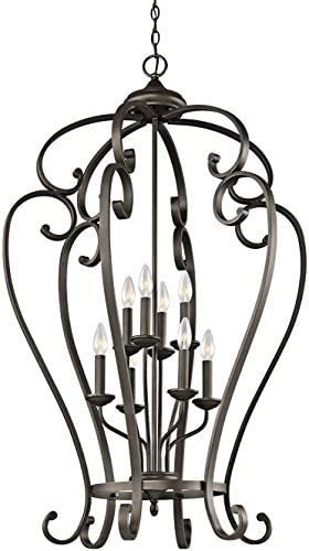 Kichler 43167OZ Monroe Foyer Chandelier 8-Light, Olde Bronze