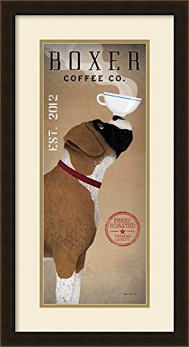 (Framed Art Print, 'Boxer Coffee Co. v.2' by Ryan Fowler: Outer Size 15 x 28