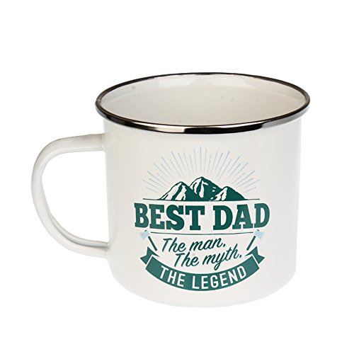 Best Dad, Large Camping Coffee Mug, Enamel, 14 oz, Multi-Colored, Light-weight, Retro Inspired for Men