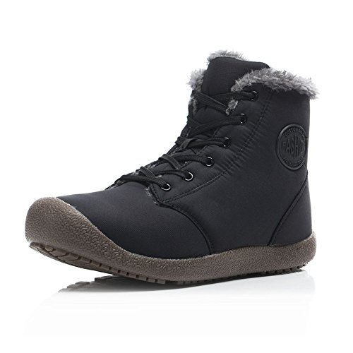 FLARUT Mens Women Snow Boots Fur Lined Ankle Booties High Top Winter Shoes Lace Up Outdoor Walking Sneakers