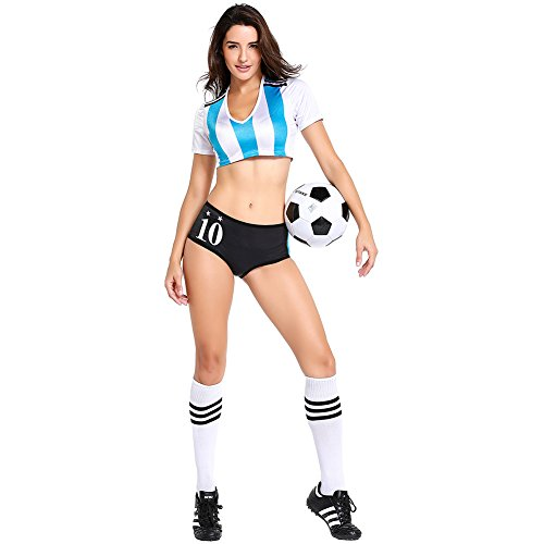 Football Cheerleading Uniform for Women Sexy Adult Soccer Baby Outfit Cheerleader Costume Short Sleeve Shirt (Argentina)