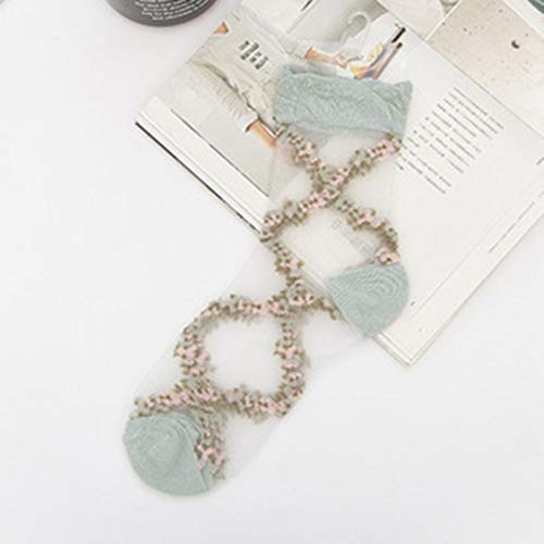 HongG Beneficial Fashion Spring and Summer Thin Breathable Socks Silk Stockings Lovely Embroidery Glass Silk Socks(None one Size Gray) (A Pair Of Silk Stockings Full Text)