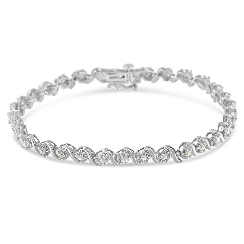 Sterling Silver Rose-cut Diamond Spiral Link Bracelet (1.00 cttw, I-J Color, I3...