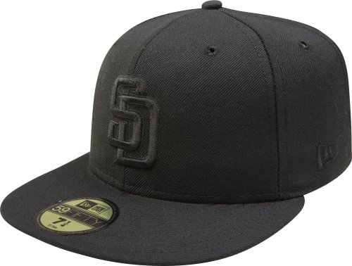 MLB San Diego Padres Black on Black 59FIFTY Fitted Cap, 7 - Men's Diego Style San