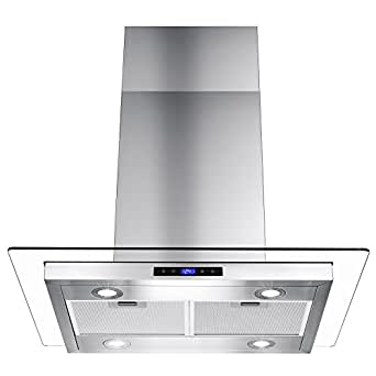 "Golden Vantage 30"" Island Mount Stainless Steel Tempered Glass Touch Control Kitchen Cooking Range Hood"