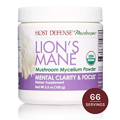 (Host Defense, Lion's Mane Mushroom Powder, Supports Mental Clarity, Focus and Memory, Certified Organic Supplement, 3.5 oz (66 Servings))