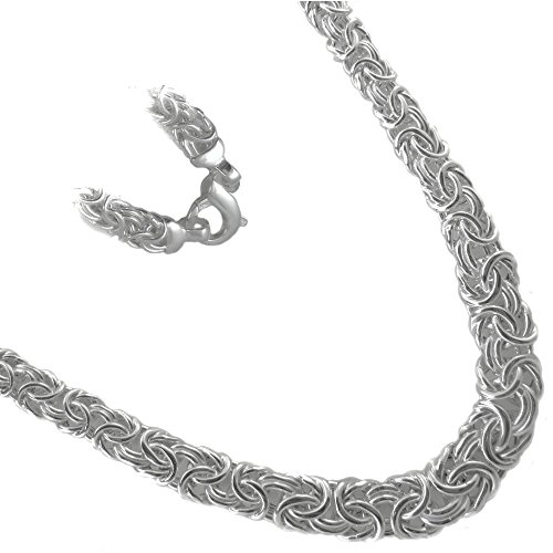 Byzantine Graduated Necklace. 9mm to 14mm Thick Flat Oval .925 Sterling Silver. 16,18,20,24'' (16 Inches) by JOSCO