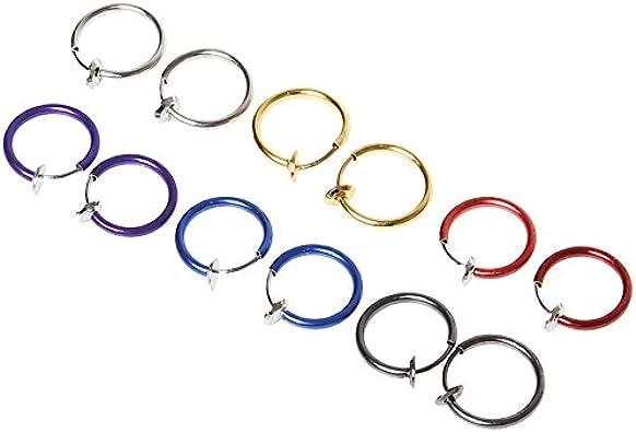 Sicai 12 piezas Fake Earrings Hoop, aretes sin perforaciones 6 colores, anillo de nariz Ear Lip Clip Body Jewelry
