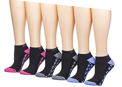 BodyGlove Women's Low Cut Socks, 6 Pack (Black with Checkered ()