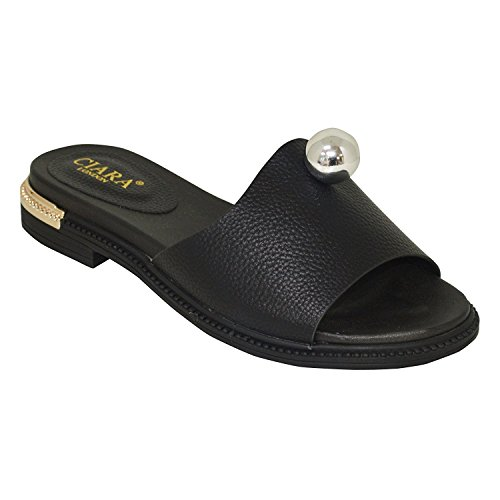 Ciara Women's London Roco Flat Slip-On Mule Sandals Black