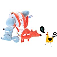 Labebe Car Seat Toy, Hanging Toy for Baby with Blue Squirrel & Orange Fox, Baby Crib Toy/Crib Baby Stroller Toy/Activity Spiral Activity/Spiral Fox Crib Toy Car Seat/Fox Car Seat Toy Fox Stroller Toy