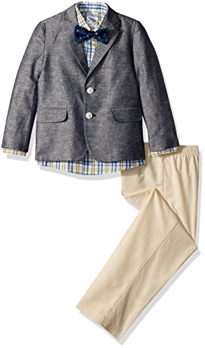 Nautica Toddler Boys' Suit Set with Jacket, Pant, Shirt, and Bow Tie, Denim Peacoat, (408 Bow)