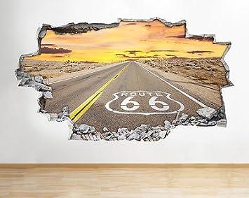 Tekkdesigns Route 66 American Road Zerstorten Wand Vinyl Poster Raum
